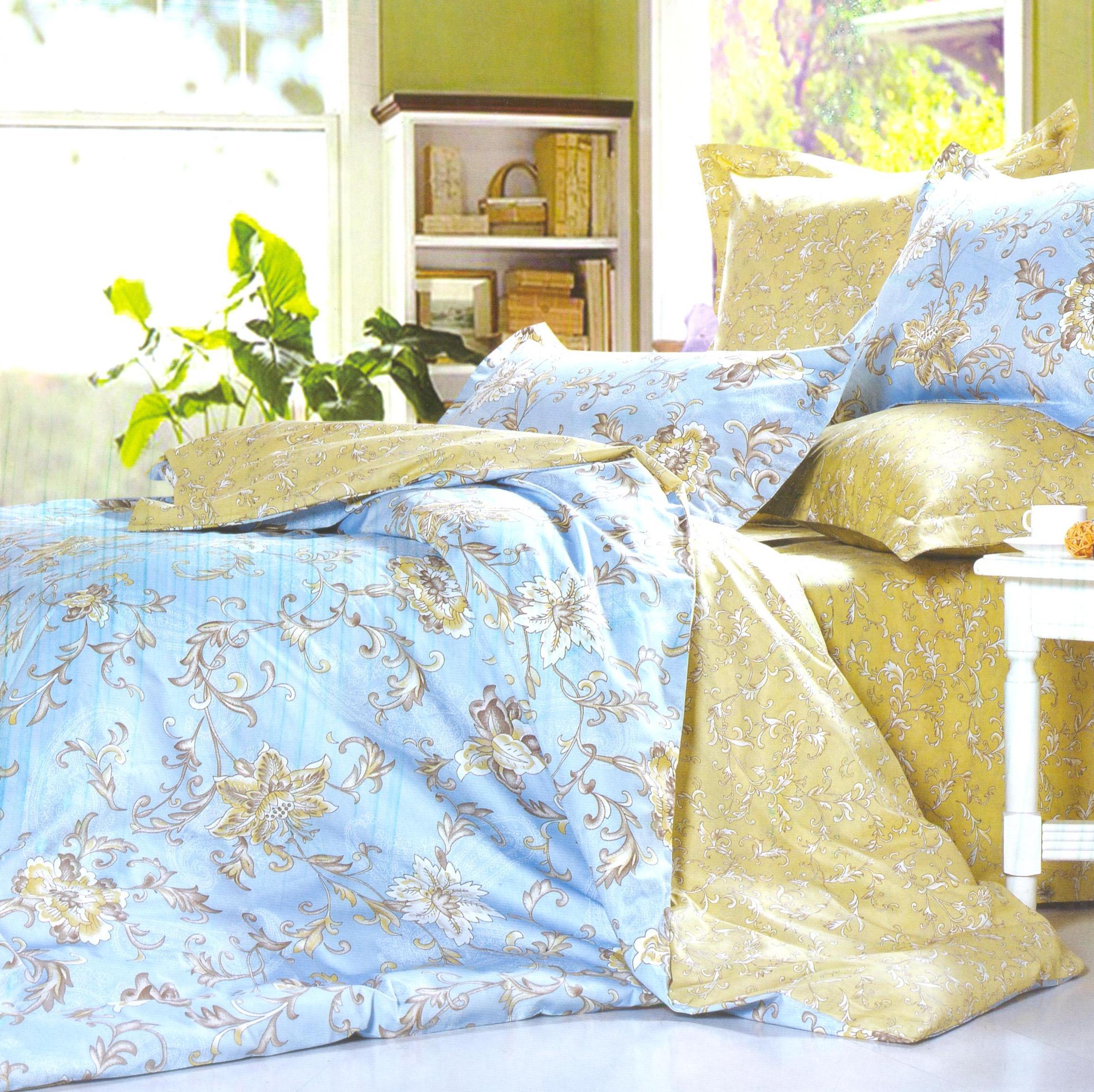 Купить Комплекты постельного белья СайлиД, Постельное белье Masane B-144 (семейное), Китай, Голубой, Хлопковый сатин