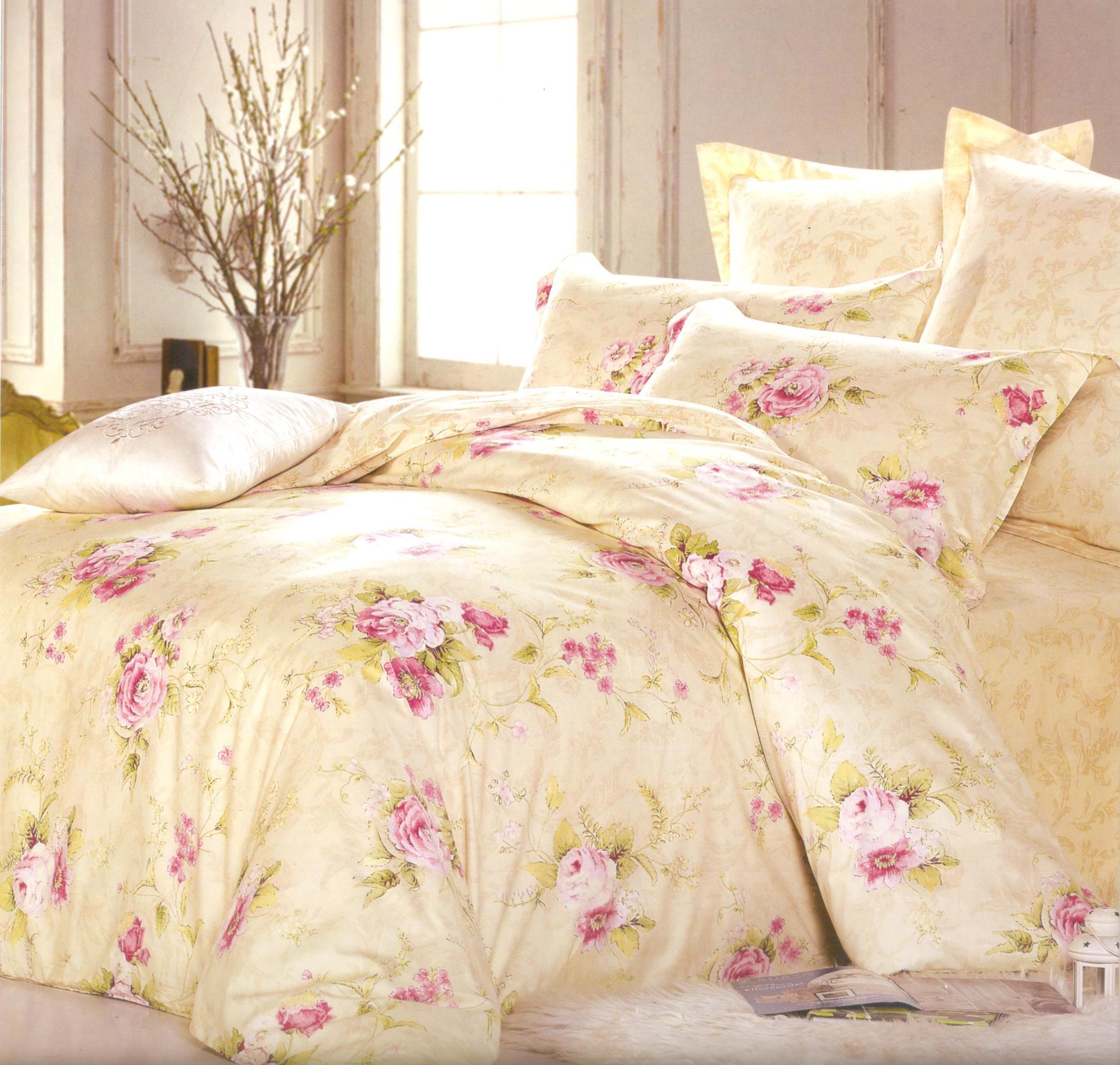 Купить Комплекты постельного белья СайлиД, Постельное белье Petra B-146 (2 спал.), Китай, Кремовый, Персиковый, Хлопковый сатин