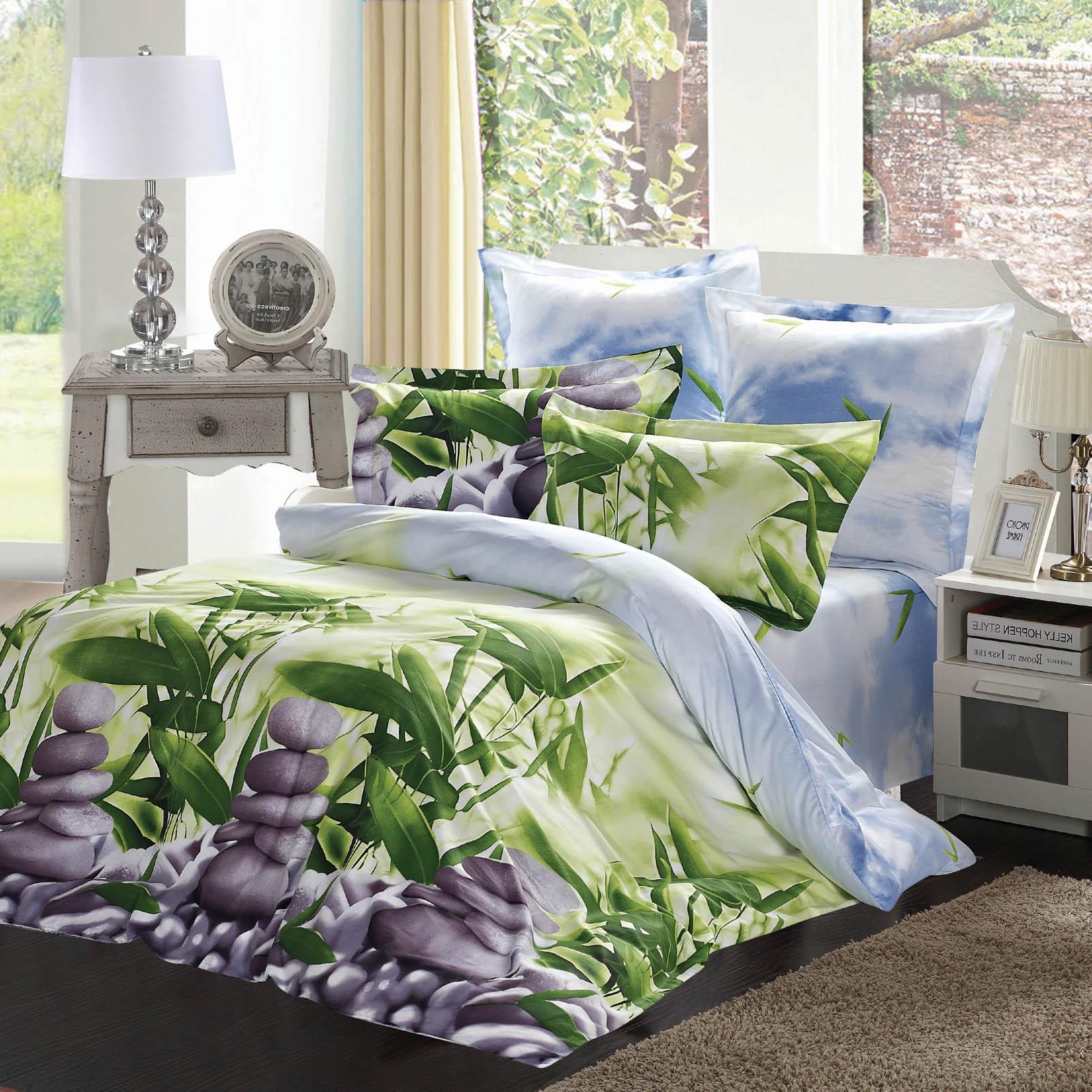 Купить Комплекты постельного белья СайлиД, Постельное белье Benet B-148 (2 сп. евро), Китай, Голубой, Зеленый, Хлопковый сатин