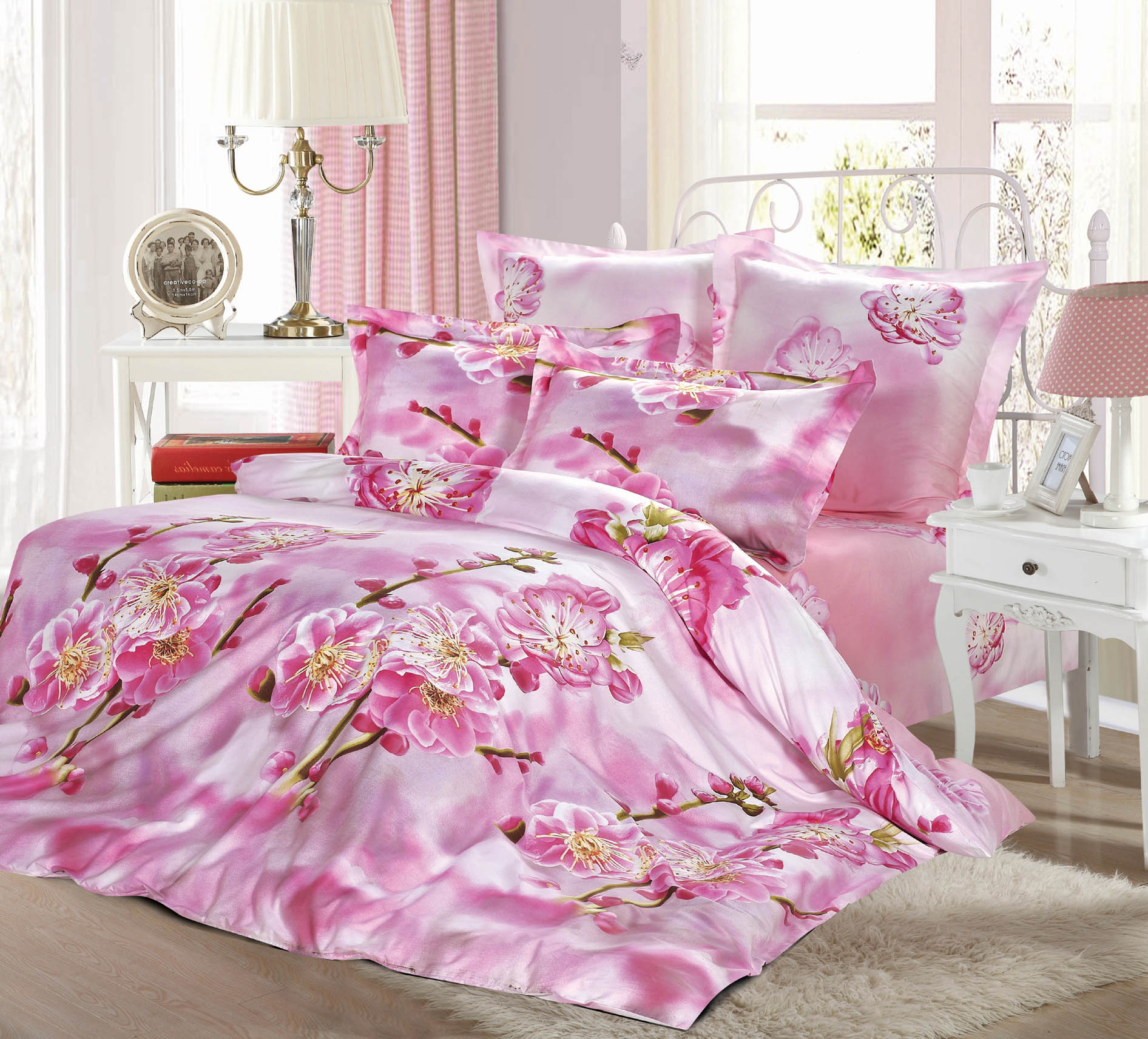 Купить Комплекты постельного белья СайлиД, Постельное белье Tilly B-149 (2 сп. евро), Китай, Розовый, Хлопковый сатин