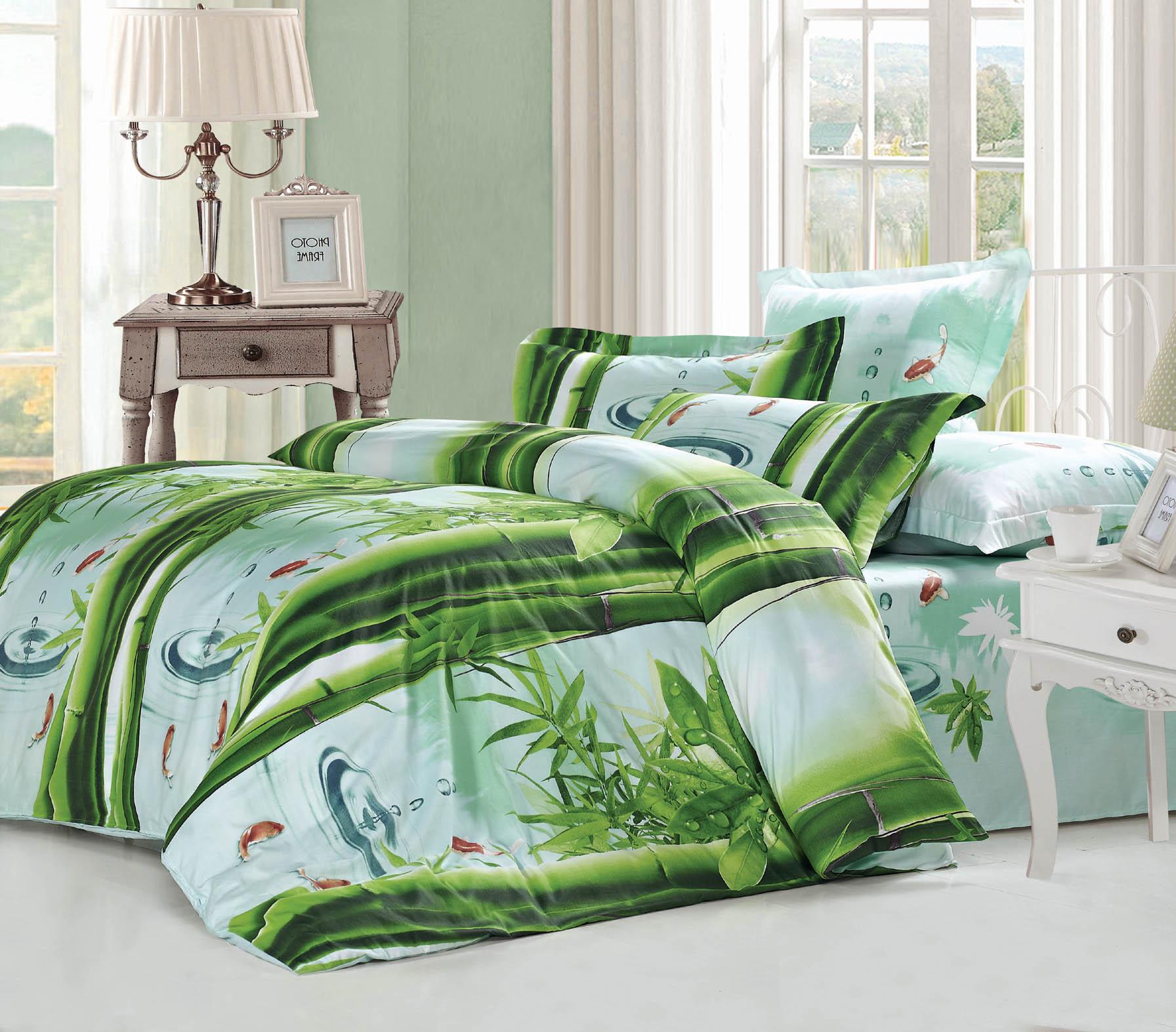 Купить Комплекты постельного белья СайлиД, Постельное белье Zechariah B-153 (2 сп. евро), Китай, Зеленый, Хлопковый сатин