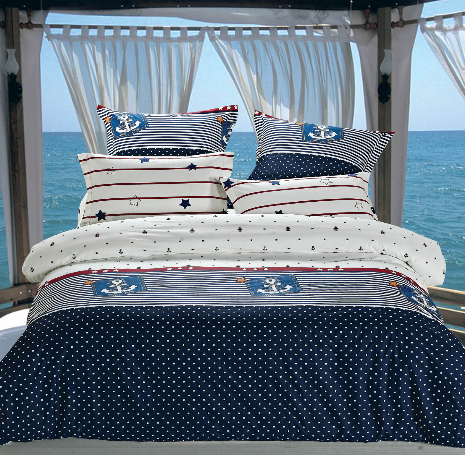 Купить Комплекты постельного белья СайлиД, Постельное белье Imani B-154 (2 сп. евро), Китай, Белый, Синий, Хлопковый сатин
