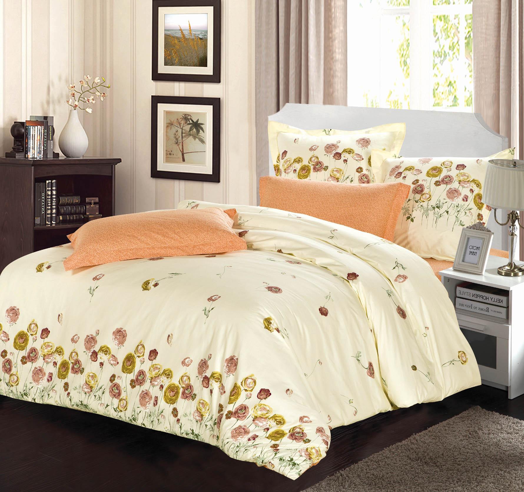 Купить Комплекты постельного белья СайлиД, Постельное белье Betsy B-158 (2 сп. евро), Китай, Персиковый, Хлопковый сатин