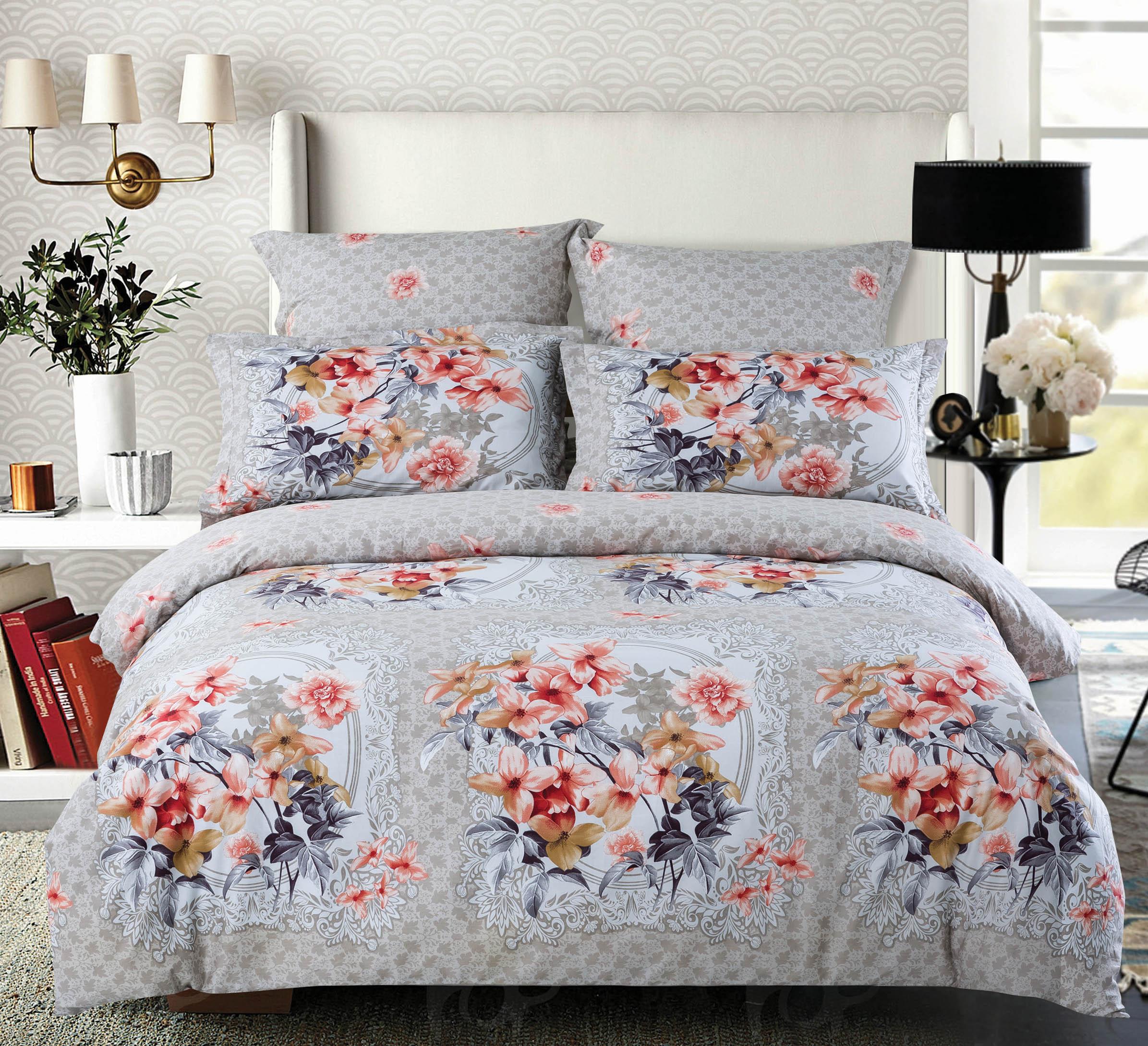 Купить Комплекты постельного белья СайлиД, Постельное бельеAnabelB-164(2 спал.), Китай, Серый, Хлопковый сатин