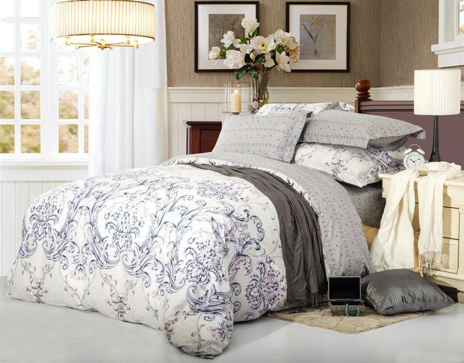 Купить Комплекты постельного белья СайлиД, Постельное бельеBigcheck B-174(1, 5 спал.), Китай, Серый, Сиреневый, Хлопковый сатин