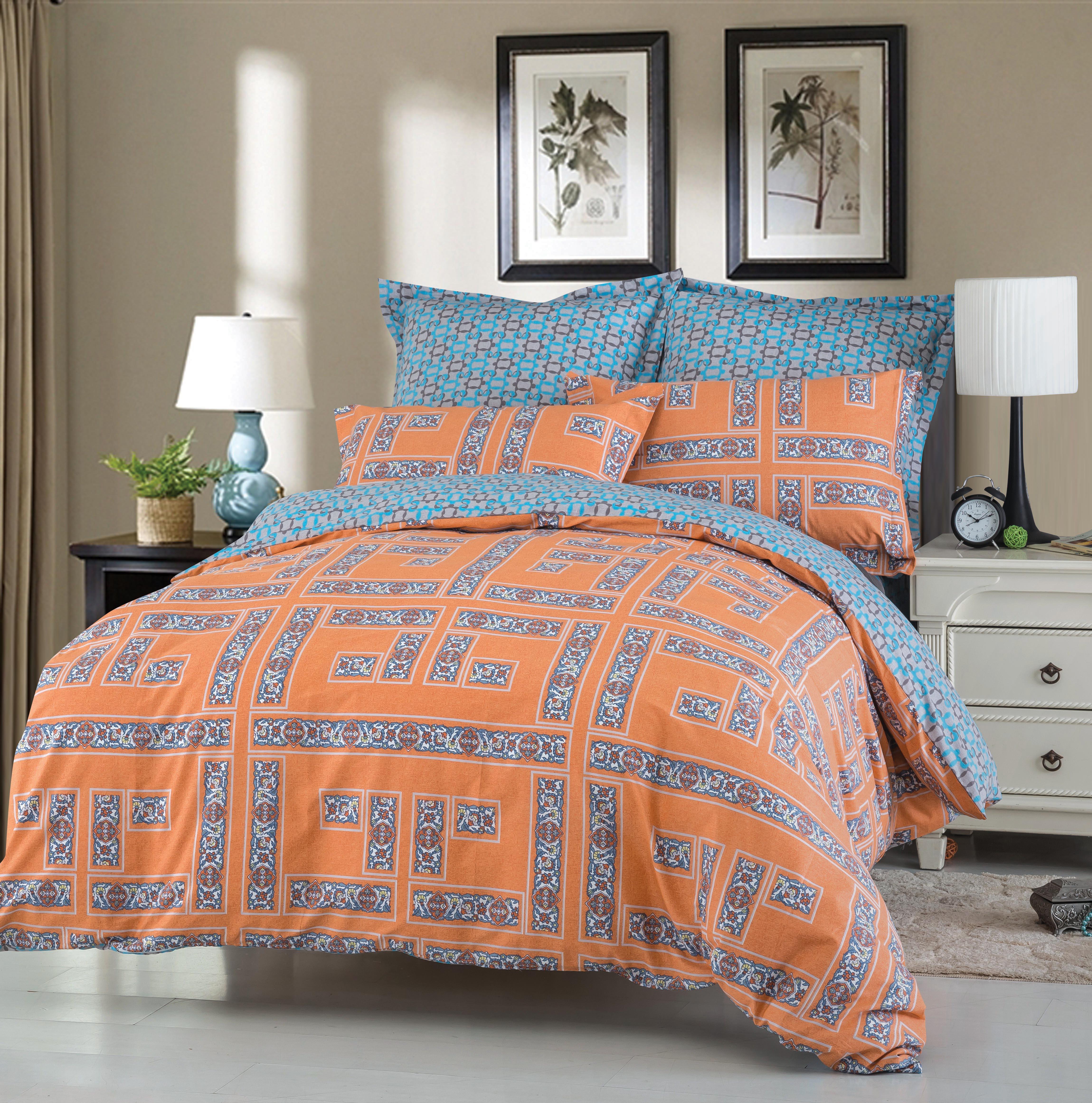 Купить Комплекты постельного белья СайлиД, Постельное бельеJump B-178(1, 5 спал.), Китай, Голубой, Оранжевый, Хлопковый сатин