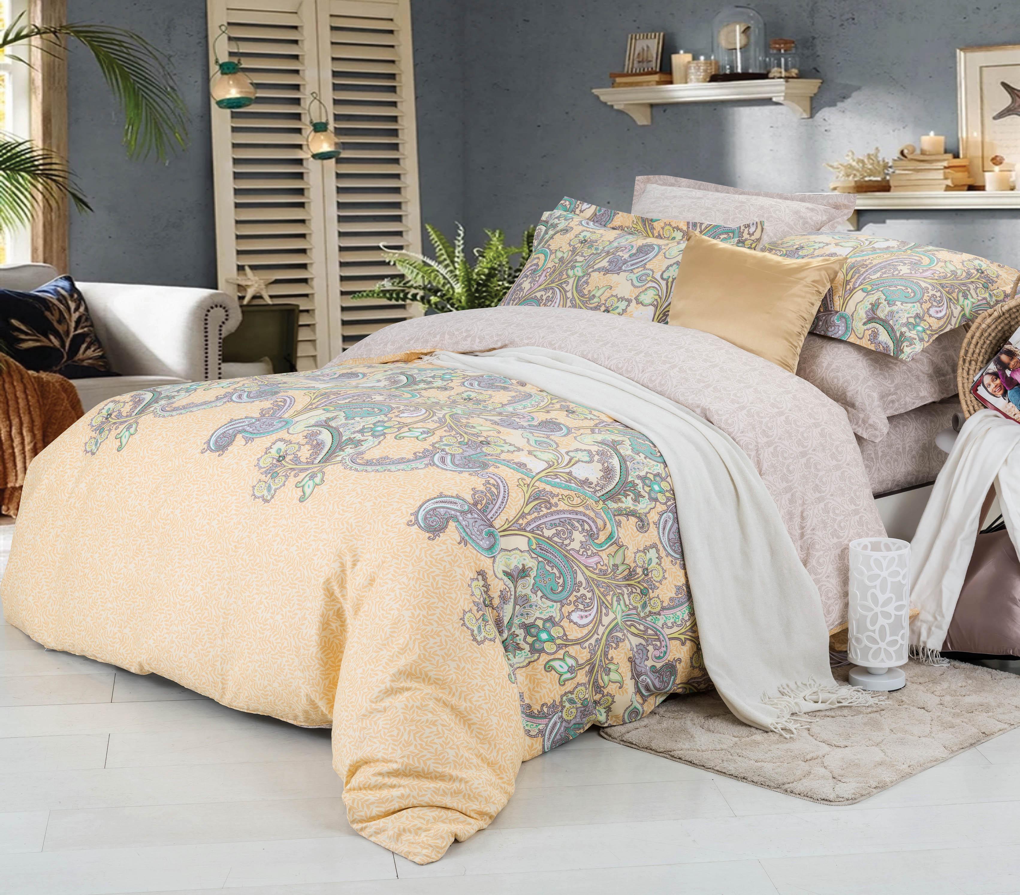 Купить Комплекты постельного белья СайлиД, Постельное бельеSeriate B-181(семейное), Китай, Зеленый, Персиковый, Хлопковый сатин