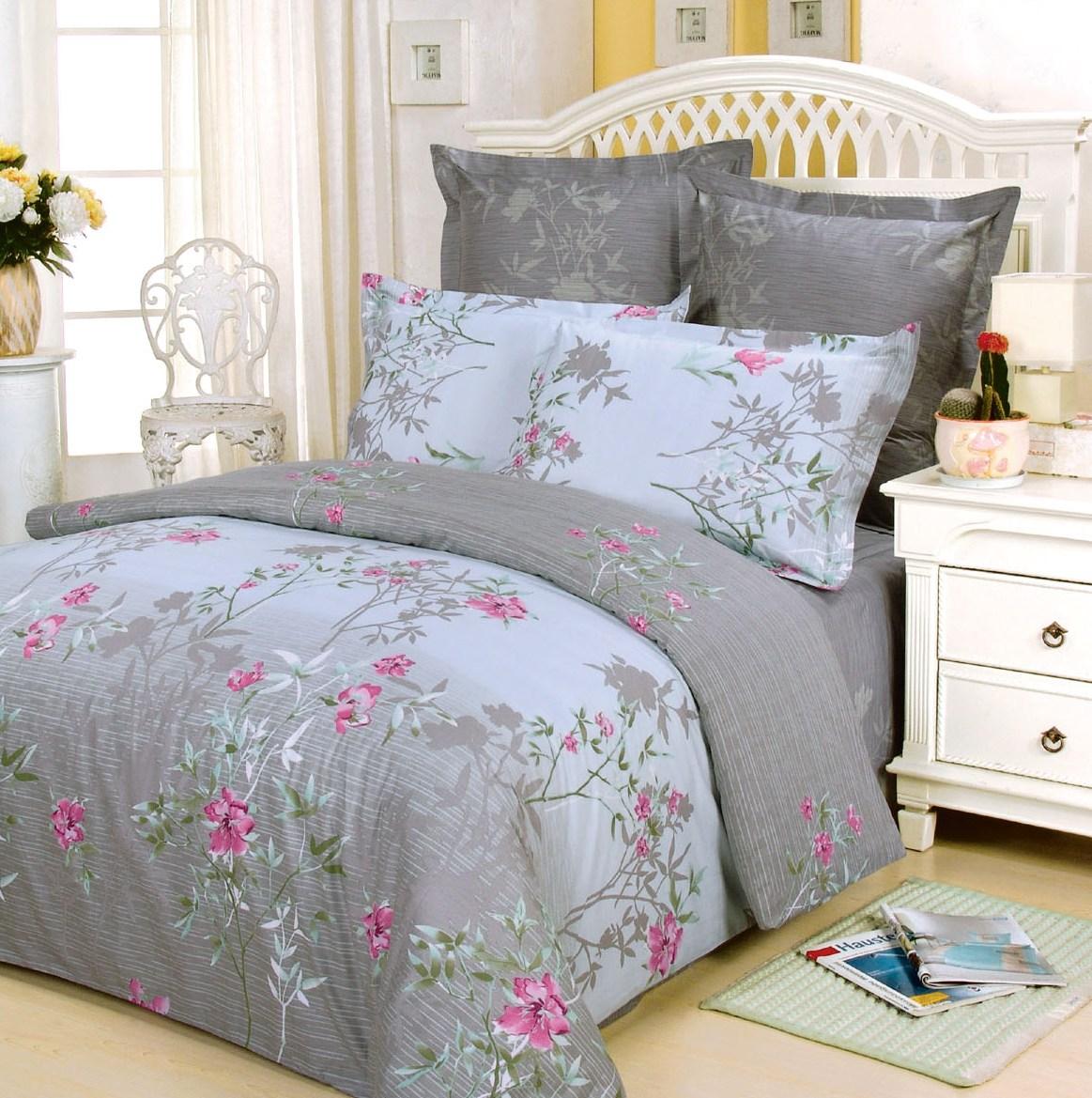 Купить Комплекты постельного белья СайлиД, Постельное белье Jenna B-31 (2 сп. евро), Китай, Голубой, Серый, Хлопковый сатин