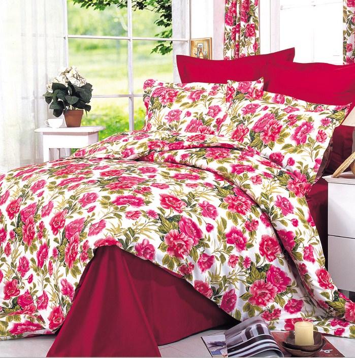Купить Комплекты постельного белья СайлиД, Постельное белье Dayana B-4 (2 сп. евро), Китай, Бордовый, Красный, Хлопковый сатин