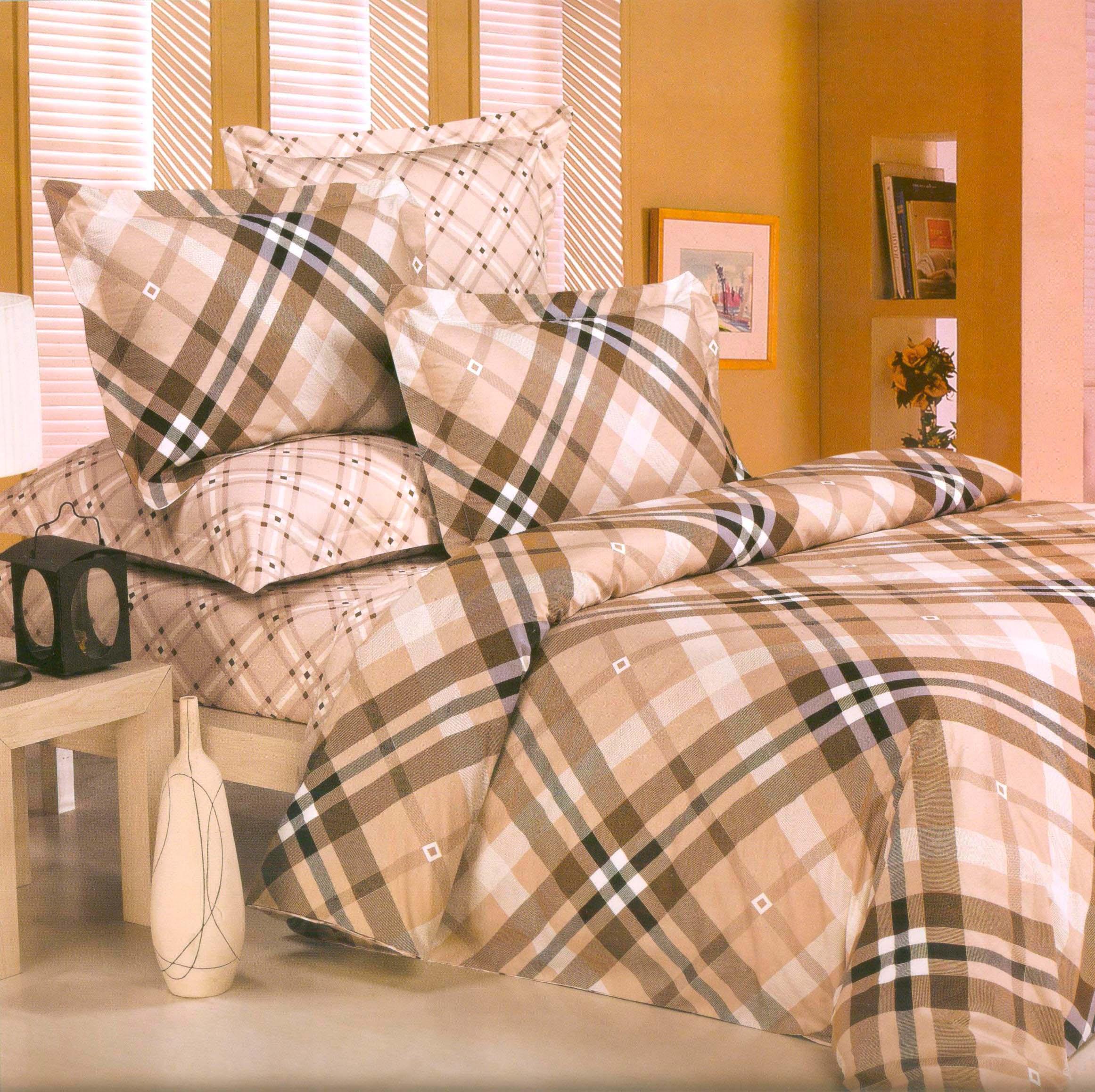 Купить Комплекты постельного белья СайлиД, Постельное белье Luxus B-58 (2 сп. евро), Китай, Бежевый, Серый, Хлопковый сатин