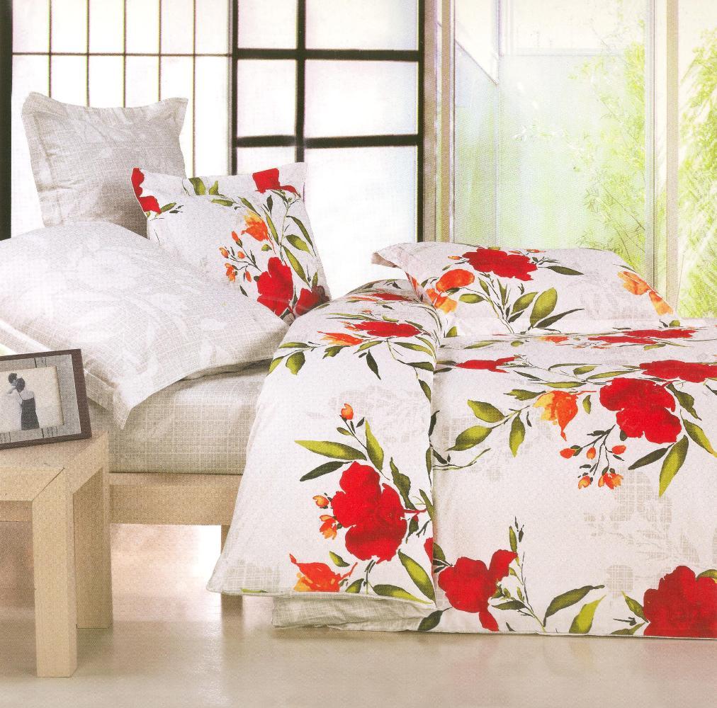 Купить Комплекты постельного белья СайлиД, Постельное белье Tessa B-63 (2 сп. евро), Китай, Белый, Красный, Хлопковый сатин