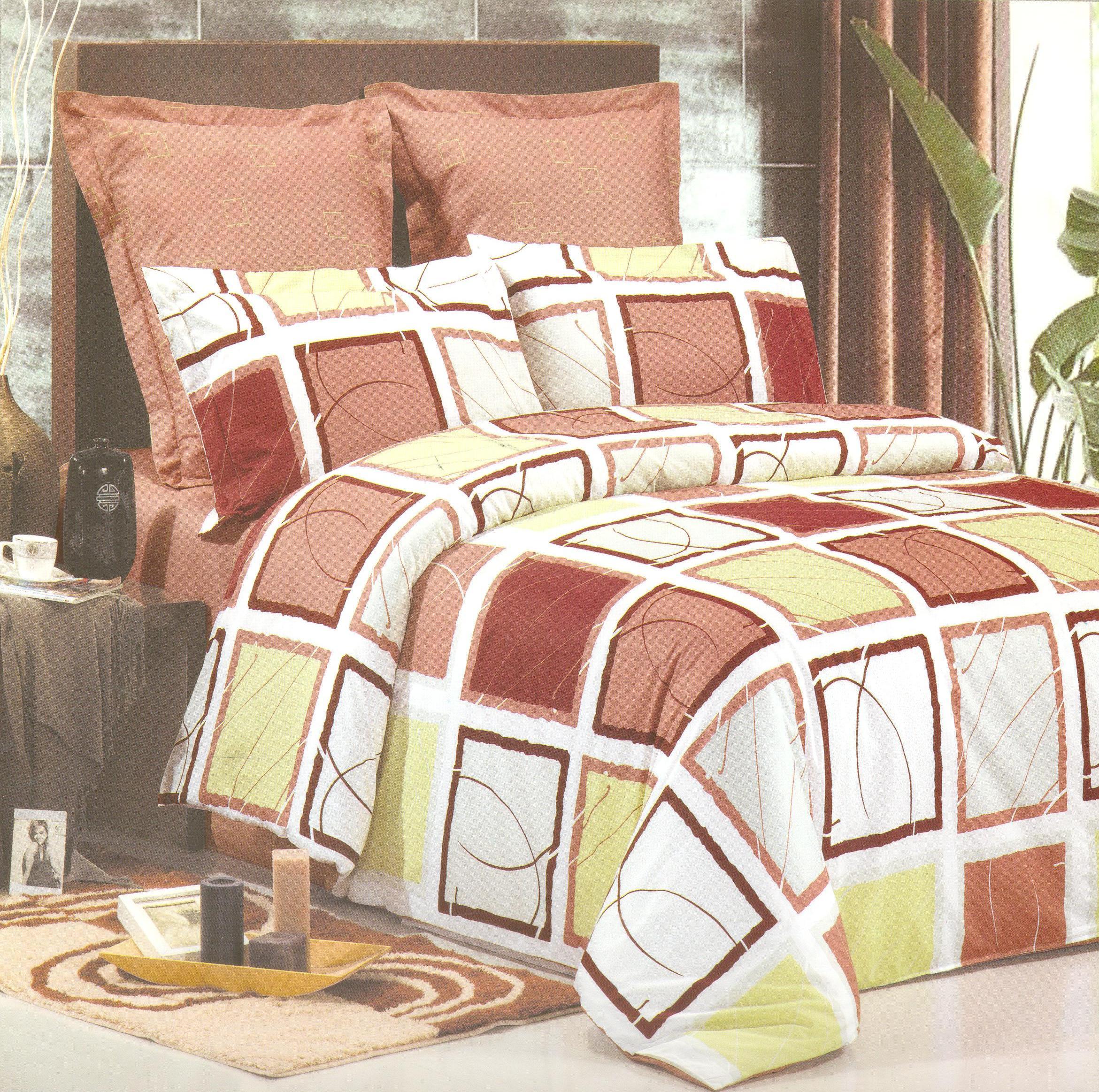 Купить Комплекты постельного белья СайлиД, Постельное белье Oprah B-75 (2 сп. евро), Китай, Белый, Зеленый, Коричневый, Хлопковый сатин