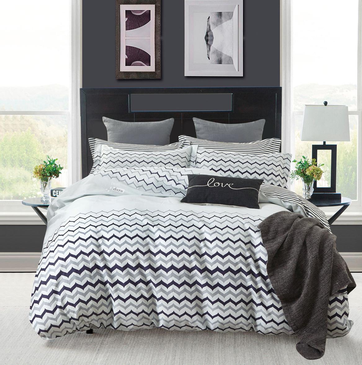 Купить Комплекты постельного белья Tango, Постельное белье Augustus (2 сп. евро), Китай, Серый, Черно-белый, Хлопковый сатин