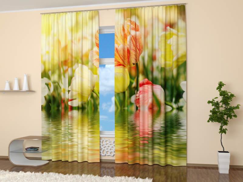 Шторы StickButik Фотошторы Тюльпаны Над Водой