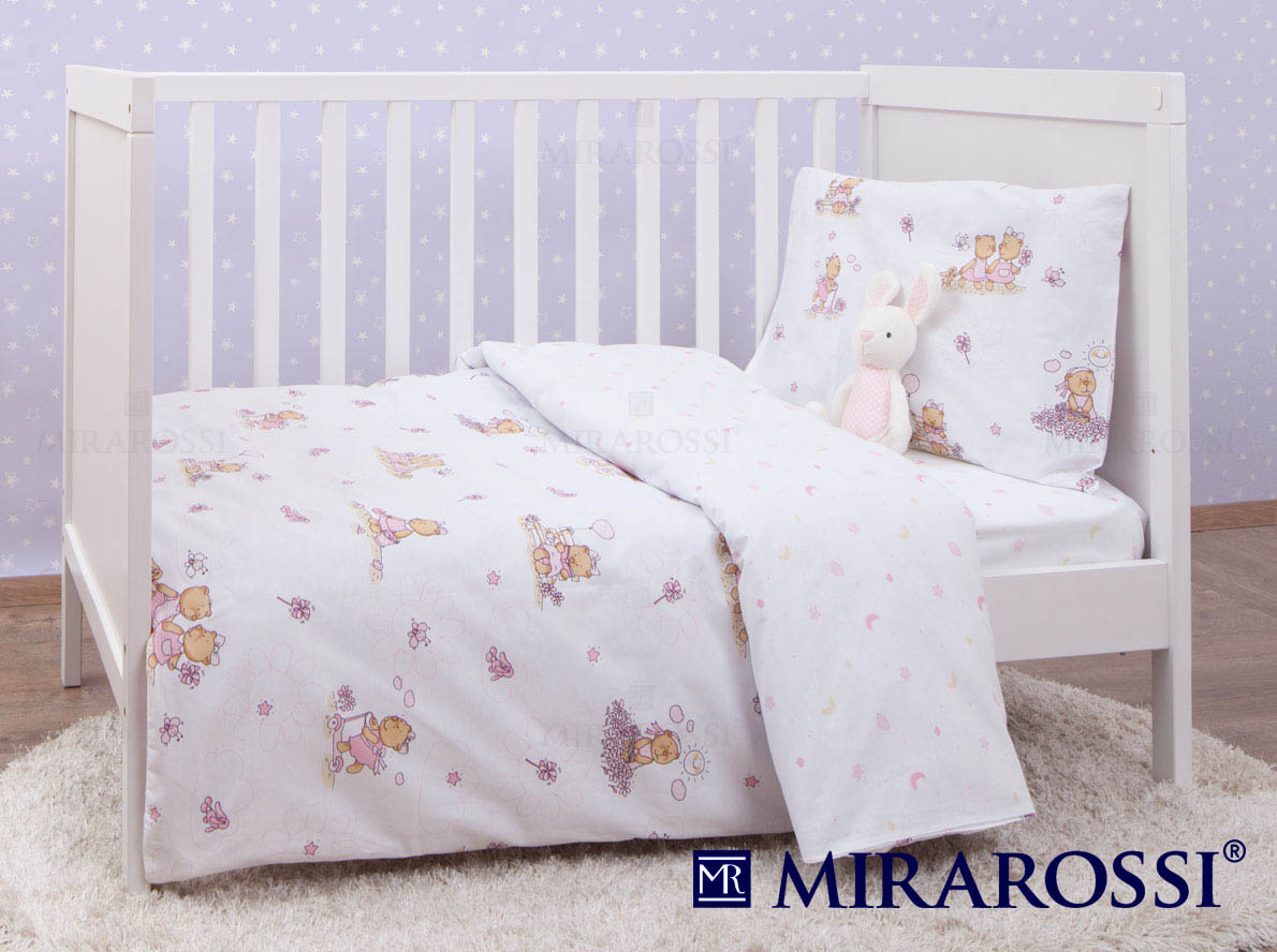 Купить Детское постельное белье MIRAROSSI, Постельное белье Bambine Цвет: Розовый (115х147 см), Россия, Белый, Ранфорс