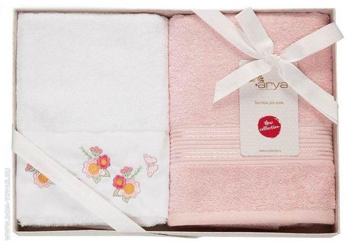 Полотенца Arya Полотенце Dakota Цвет: Белый, Пудра (50х90 см - 2 шт)