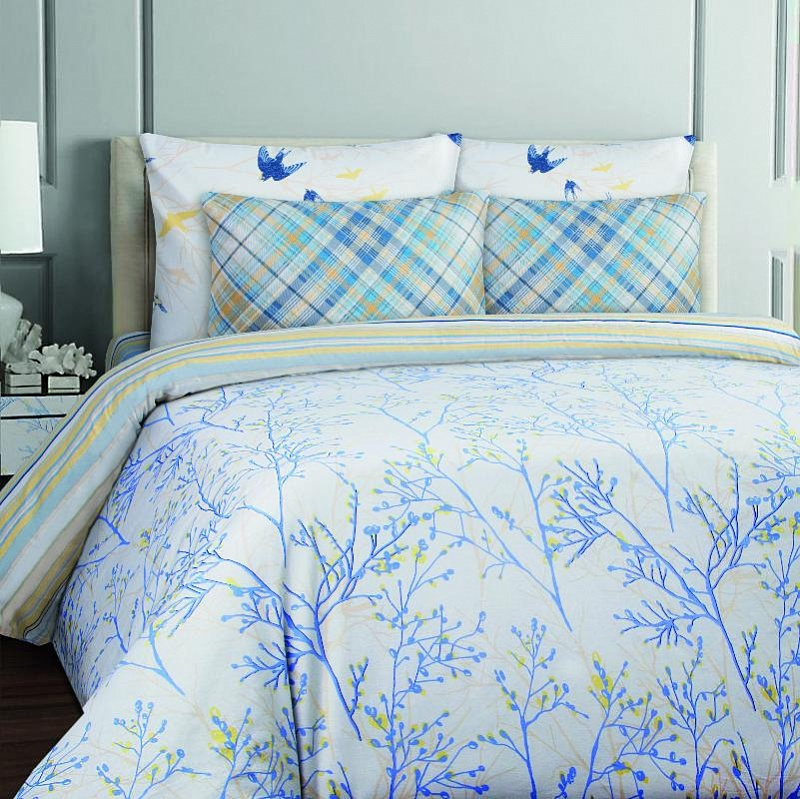 Купить Комплекты постельного белья Mona Liza, Постельное белье Willow (1, 5 спал.), Россия, Голубой, Зеленый, Бязь