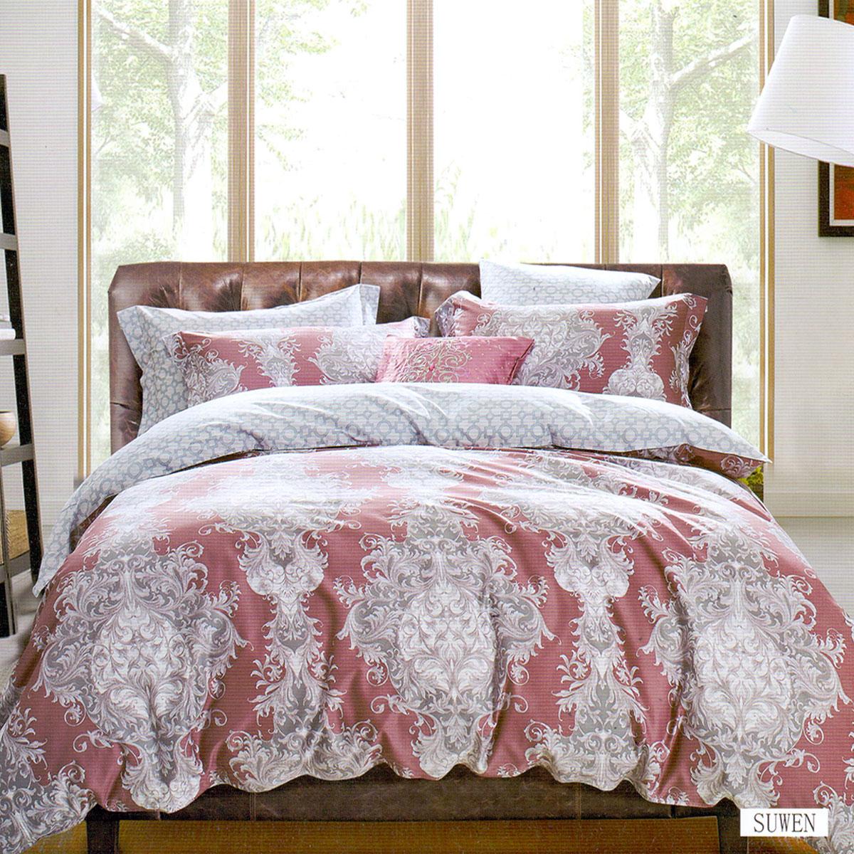 Купить Комплекты постельного белья Arya, Постельное белье Suwen (2 сп. евро), Турция, Красный, Серый, Хлопковый сатин