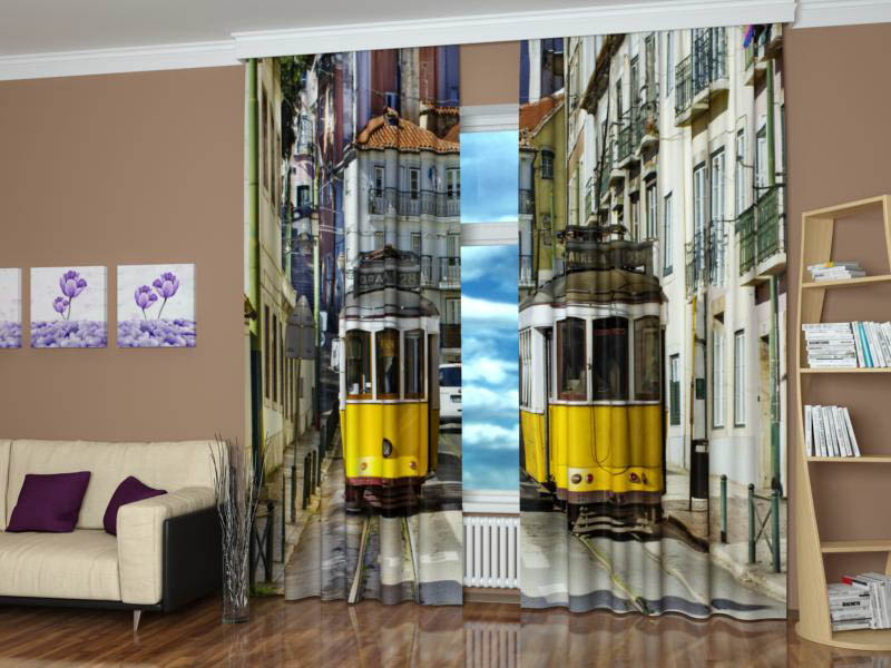 Шторы StickButik Фотошторы Желтые Трамвайчики
