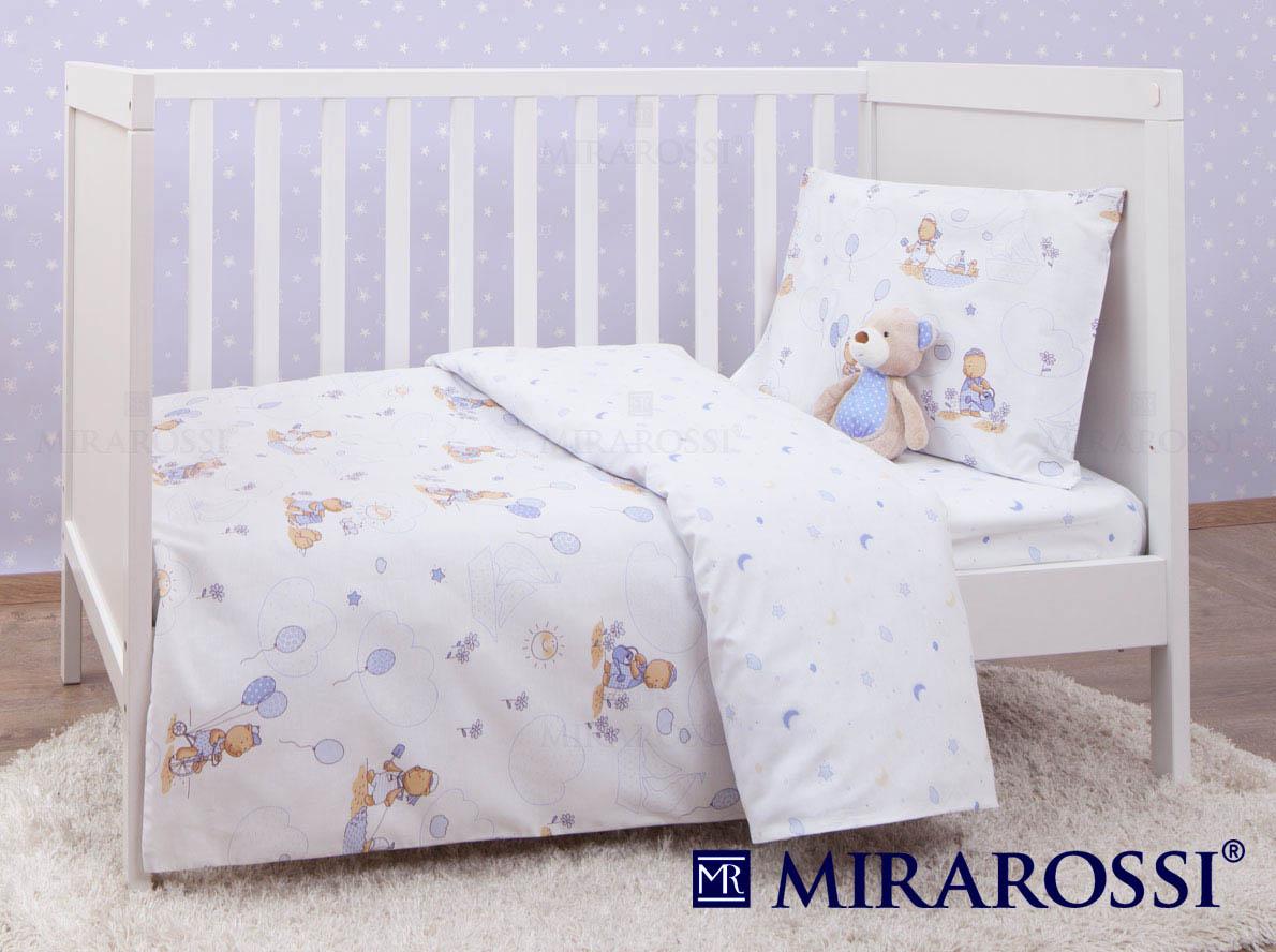 Купить Детское постельное белье MIRAROSSI, Постельное белье Bimbo Цвет: Голубой (115х147 см), Россия, Белый, Голубой, Ранфорс