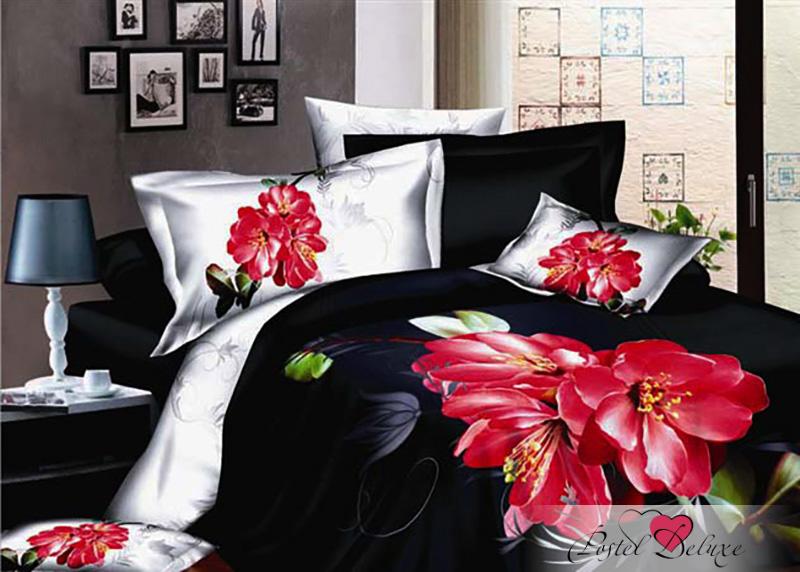 Купить Комплекты постельного белья БонСон, Постельное белье Flora (2 спал.), Китай, Красный, Черно-белый, Хлопковый сатин