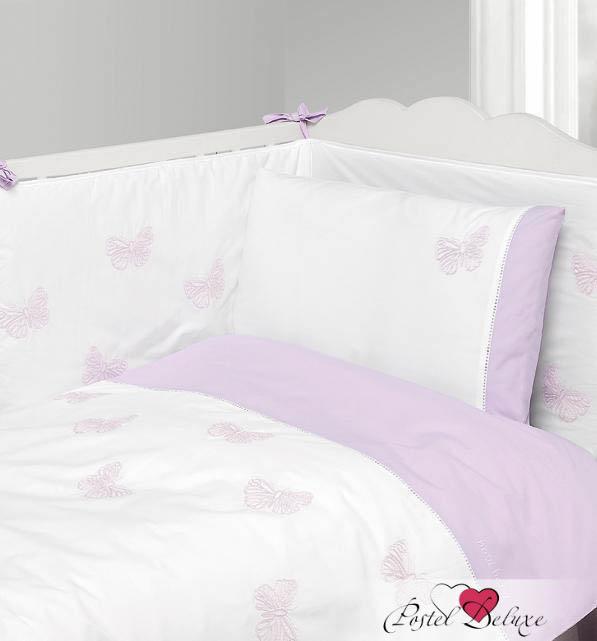 Купить Детское постельное белье BOVI, Постельное белье Бабочки Цвет: Белый-Лаванда (100х140 см), Португалия, Белый, Сиреневый, Перкаль
