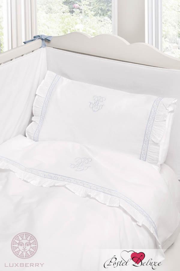 Купить Детское постельное белье BOVI, Постельное белье Вензель Цвет: Белый-Голубой (100х140 см), Португалия, Белый, Голубой, Перкаль