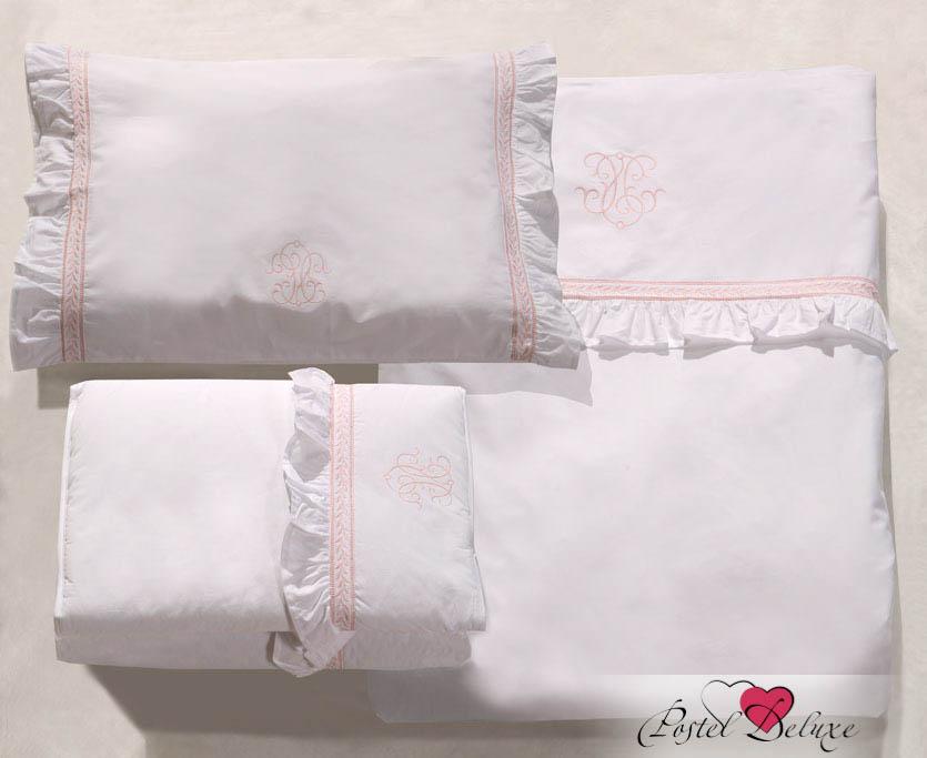 Купить Детское постельное белье BOVI, Постельное белье Вензель Цвет: Белый-Розовый (100х140 см), Португалия, Белый, Розовый, Перкаль