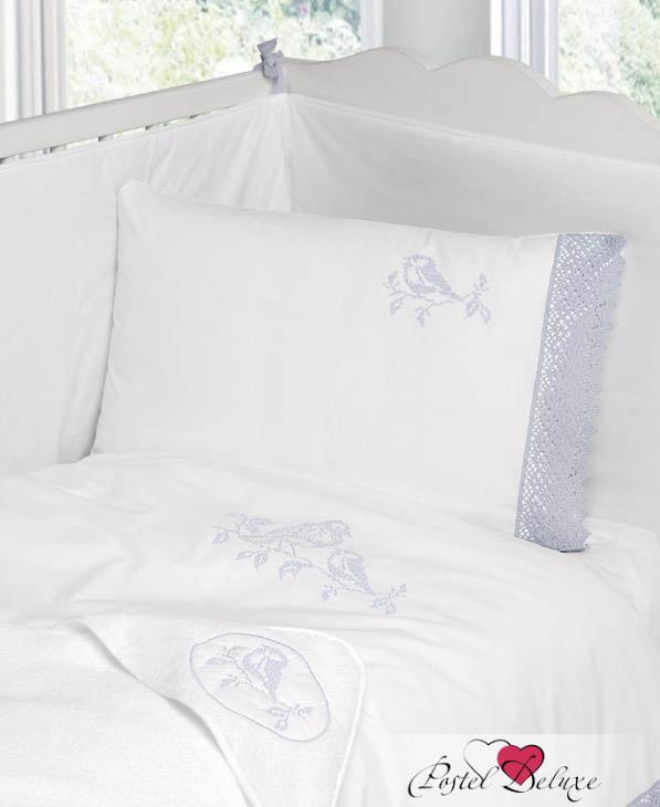 Детское постельное белье BOVI, Постельное белье Синички Цвет: Белый-Голубой (100х140 см), Португалия, Белый, Голубой, Перкаль  - Купить