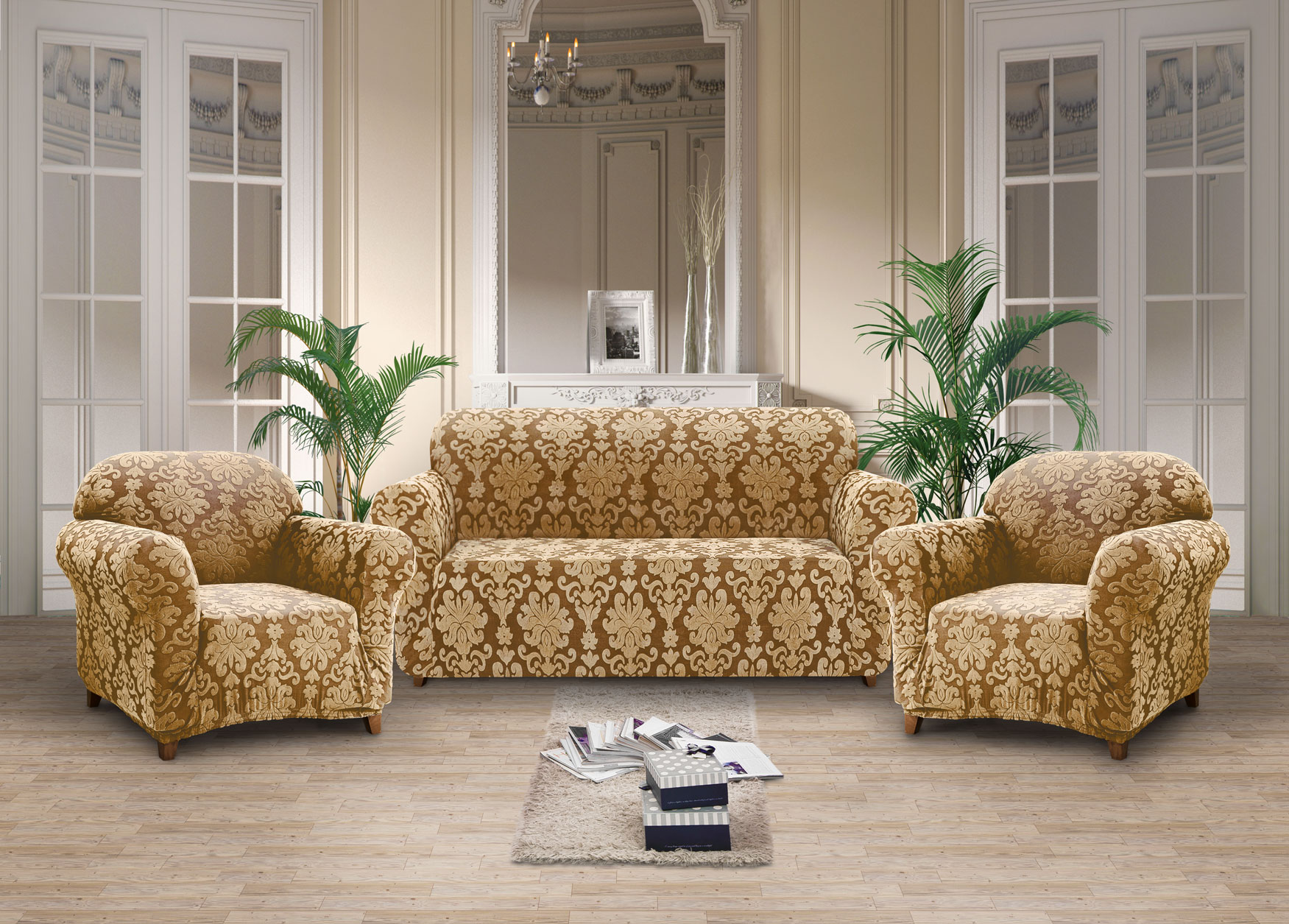 Комплект чехлов на диван и два кресла Kasandra Цвет: Бронзовый (Одноместный,Трехместный)