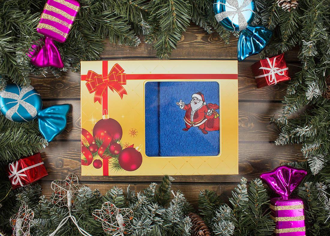 Купить Полотенца BRAVO, Полотенце С Новым Годом! Цвет: Синий (40х60 см - 2 шт), Россия, Махра