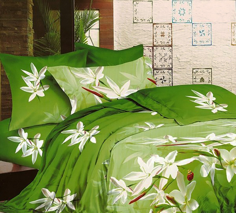 Купить Комплекты постельного белья БонСон, Постельное белье Polyana (2 спал.), Китай, Зеленый, Хлопковый сатин