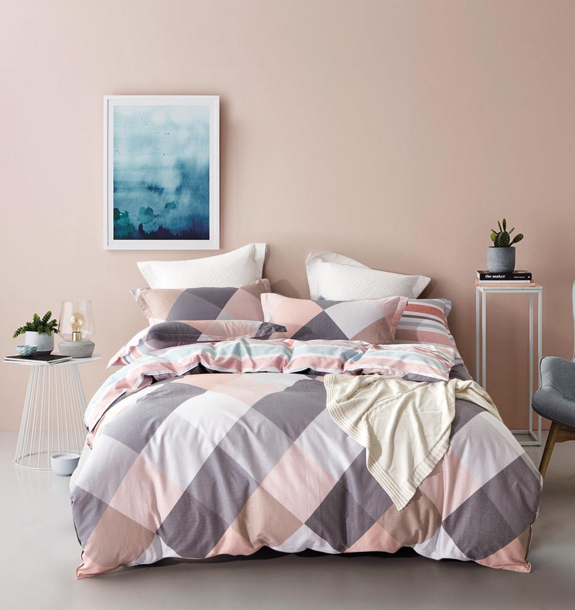 Купить Комплекты постельного белья Valtery, Постельное белье Trinity (семейное), Китай, Розовый, Серый, Фиолетовый, Хлопковый сатин