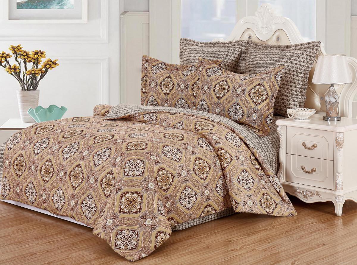 Купить Комплекты постельного белья Valtery, Постельное белье Soraka (семейное), Китай, Коричневый, Хлопковый сатин