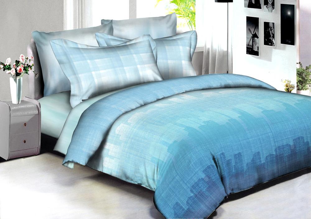 Купить Комплекты постельного белья Amore Mio, Постельное белье Monterrey (2 сп. евро), Китай, Голубой, Хлопковый сатин