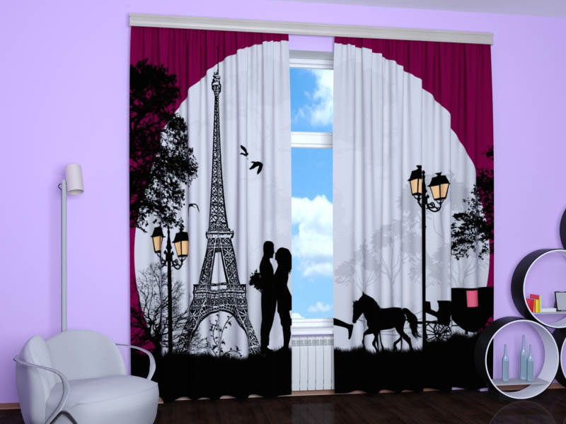 Шторы StickButik Фотошторы Романтика Парижа
