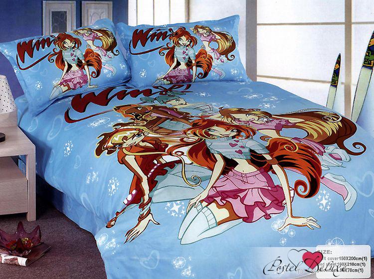 Купить Детское постельное белье Camomilla, Постельное белье Winx (150х210 см), Китай, Голубой, Хлопковый сатин