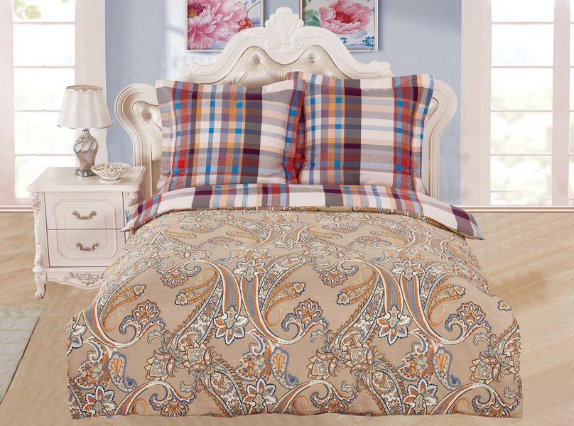 Купить Комплекты постельного белья Valtery, Постельное белье Echo (семейное), Китай, Коричневый, Красный, Хлопковый сатин