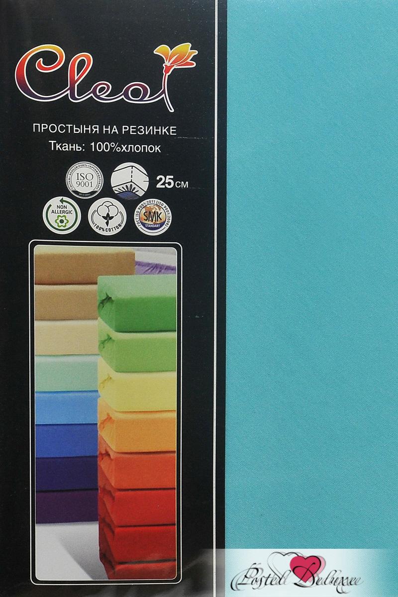 Купить Простыни Cleo, Простыня на резинке Lukka Цвет: Бирюза (160х200 см), Китай, Голубой, Хлопковый трикотаж