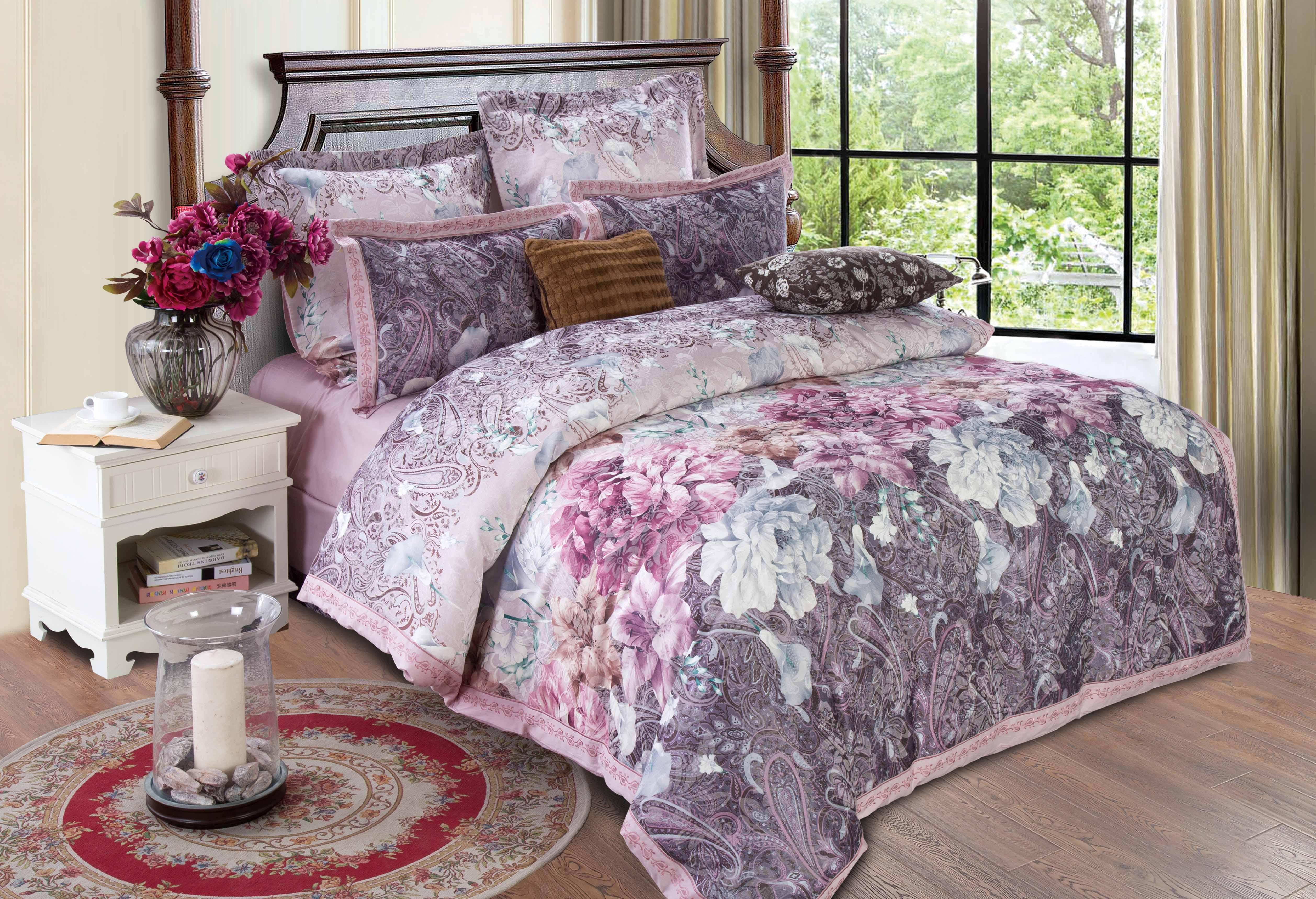 Купить Комплекты постельного белья СайлиД, Постельное белье Gavardo D-149/2 (2 сп. евро), Китай, Сиреневый, Хлопковый сатин