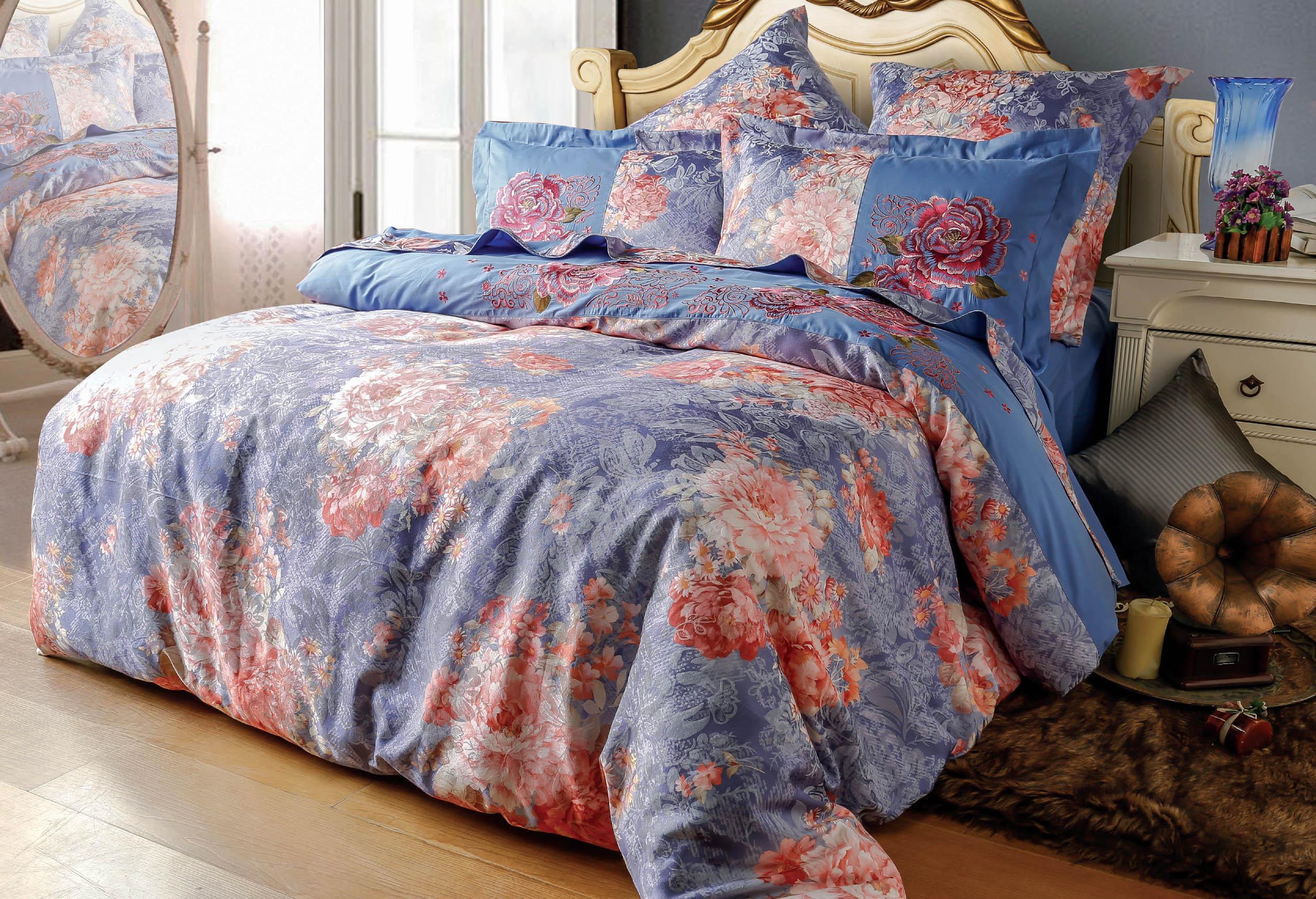 Купить Комплекты постельного белья СайлиД, Постельное белье Evonne D-174 (2 сп. евро), Китай, Синий, Хлопковый сатин