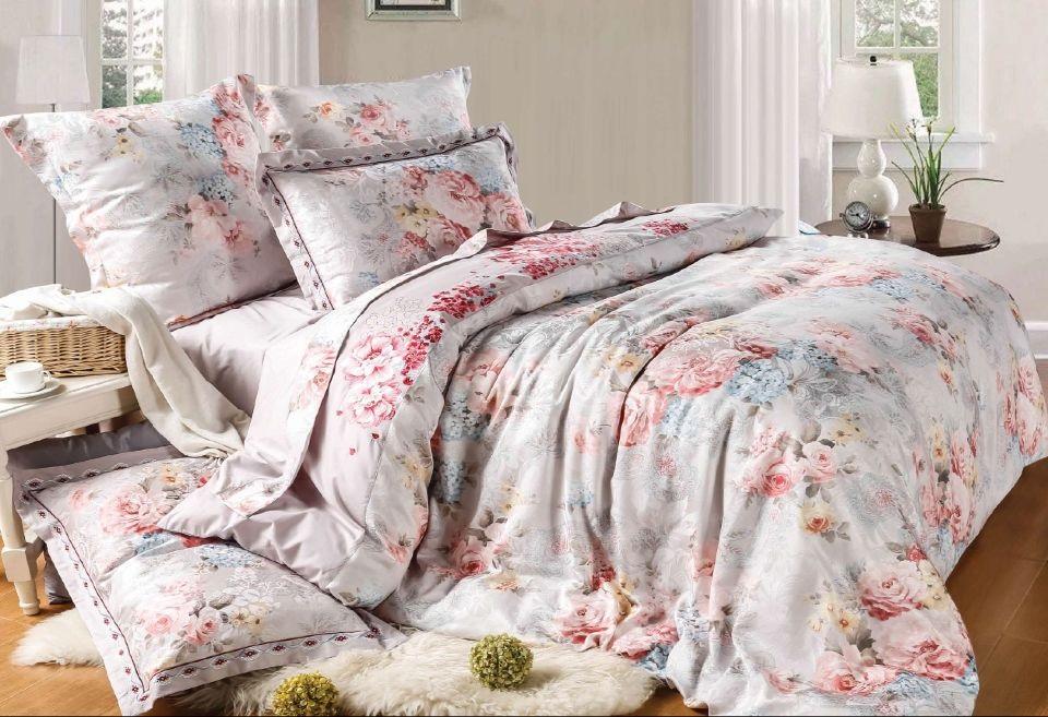 Комплекты постельного белья СайлиД, Постельное белье Caspo D-176 (2 сп. евро), Китай, Голубой, Розовый, Хлопковый сатин  - Купить