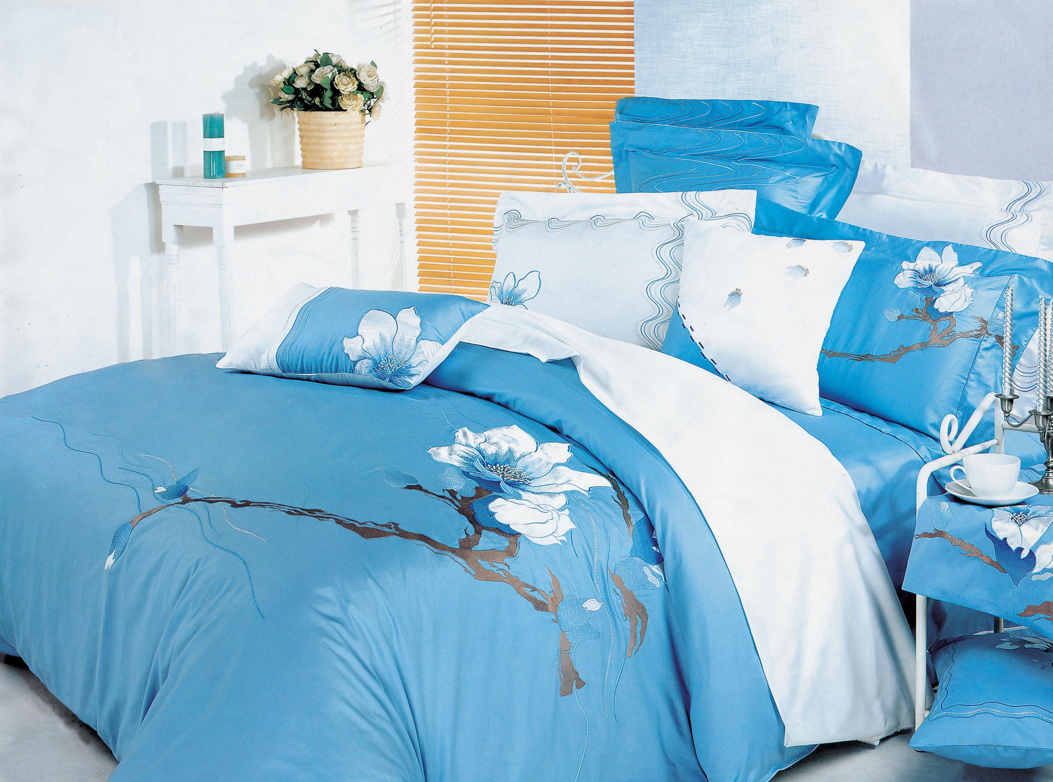 Купить Комплекты постельного белья СайлиД, Постельное белье Farica D-34 (2 сп. евро), Китай, Белый, Голубой, Синий, Хлопковый сатин