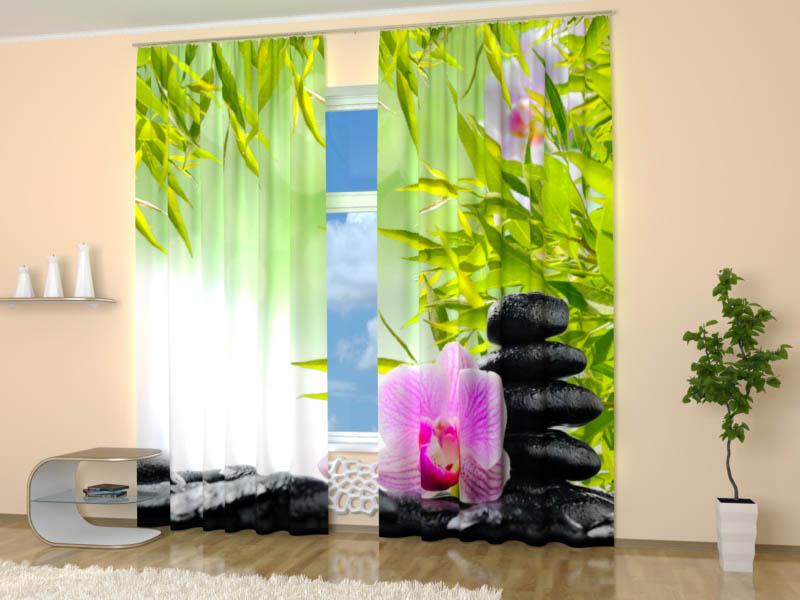 Шторы StickButik Фотошторы Орхидея На Камнях