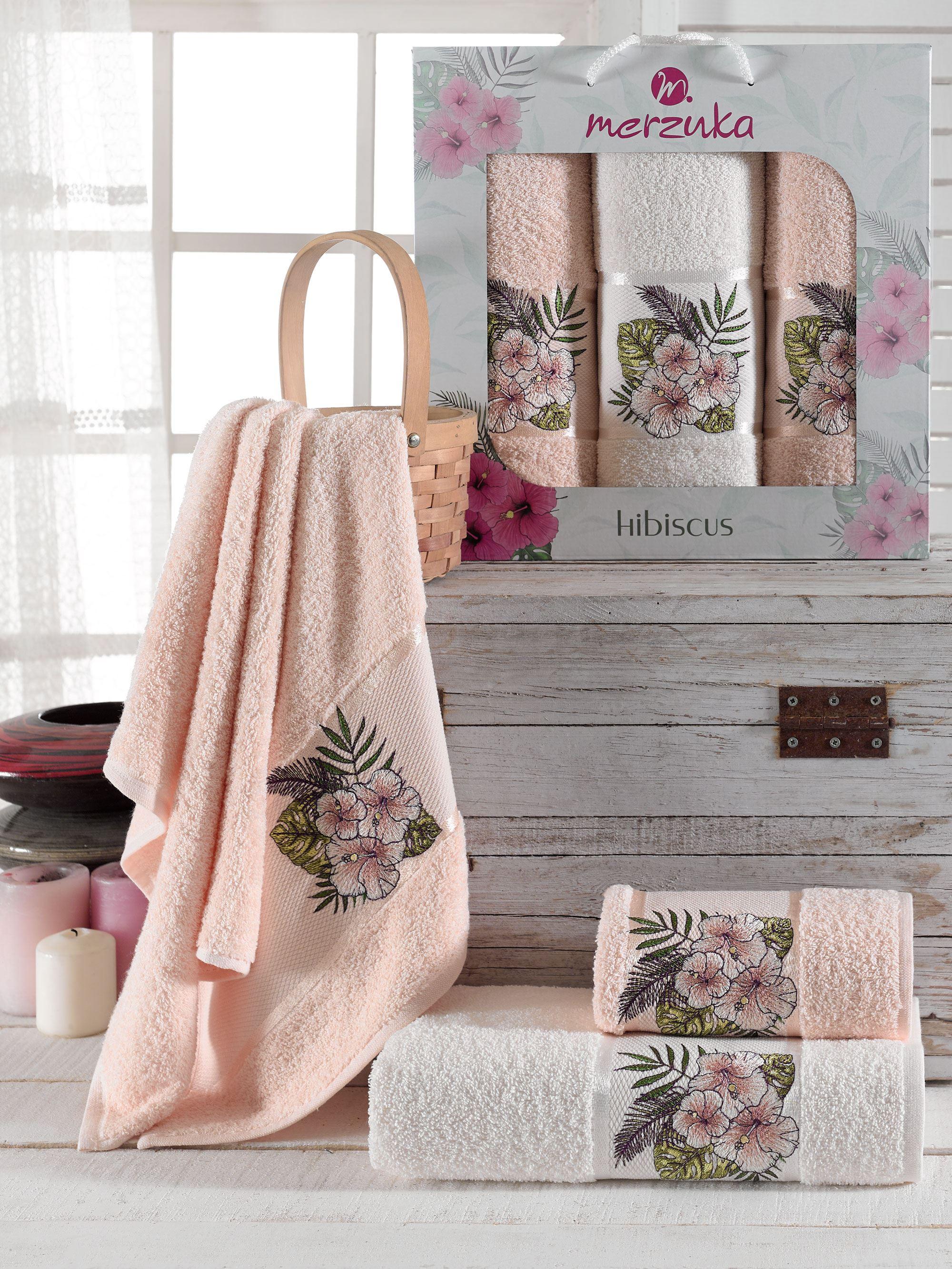 Купить Полотенца Oran Merzuka, Полотенце Hibiscus Цвет: Пудра (50х80 см - 2 шт, 70х130 см), Турция, Махра