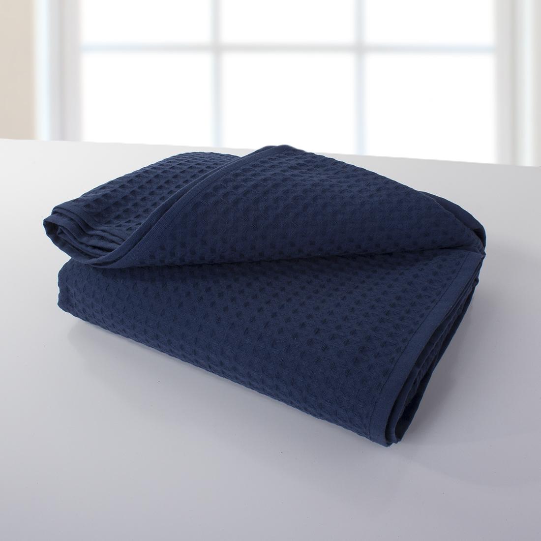 Купить Полотенца Dome, Полотенце Ribbed Цвет: Темно-Синий (150х200 см), Дания, Пике