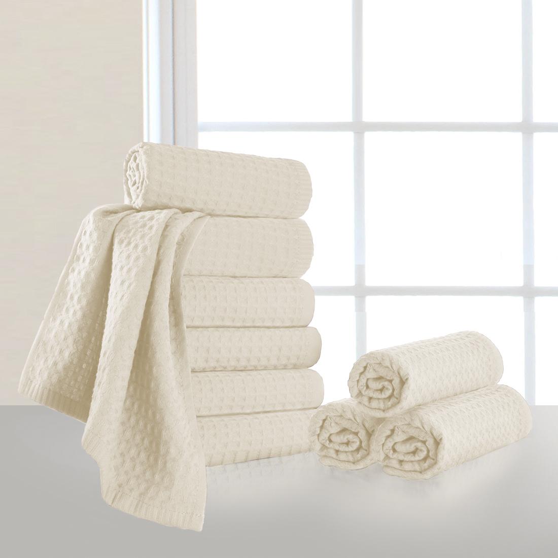 Купить Полотенца Dome, Полотенце для рук Ribbed Цвет: Молочный (40х70 см - 10 шт), Дания, Пике