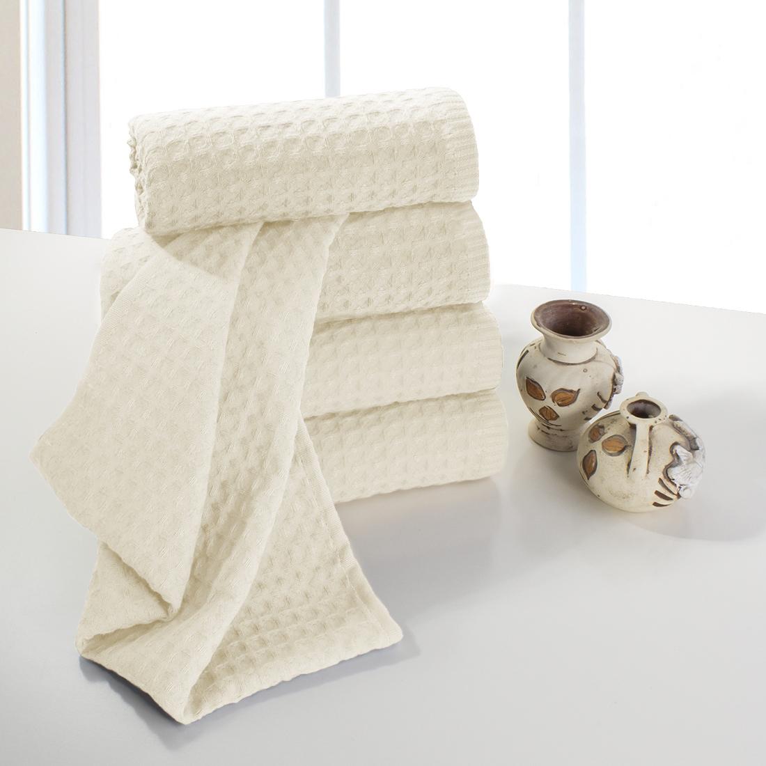 Купить Полотенца Dome, Полотенце для рук Ribbed Цвет: Молочный (40х70 см - 5 шт), Дания, Пике
