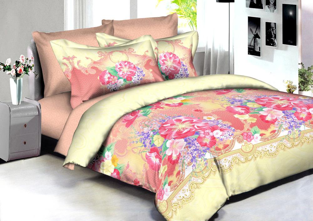 Купить Комплекты постельного белья Amore Mio, Постельное белье Jakarta (2 сп. евро), Китай, Желтый, Розовый, Хлопковый сатин