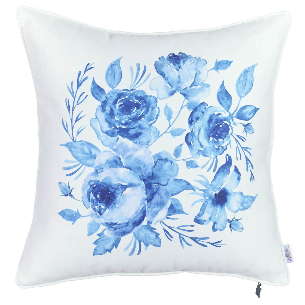 Купить Декоративные подушки Apolena, Декоративная наволочка Blue Flowers (43х43), Россия-Турция, Микрофибра